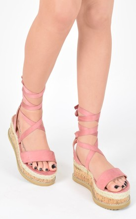 Tie Up Cork Espadrille Wedges - Pink Blush Suede by AJ | VOYAGE