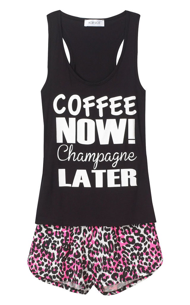 Coffee Now Champagne Later Pyjama Set by Ivory Rose Lingerie