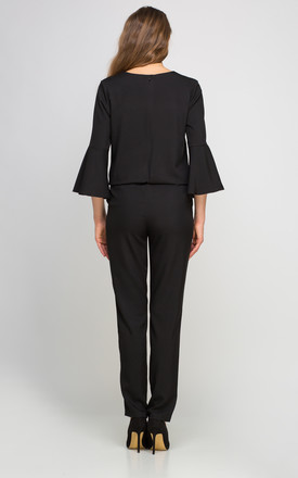 Bell Sleeve Jumpsuit In Black by Lanti