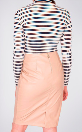 Nude Faux Leather PU Midi Knee Length Pencil Skirt by MISSTRUTH