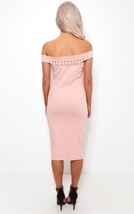 Megan Lace Up Nude Bardot Dress by The Fashion Bible