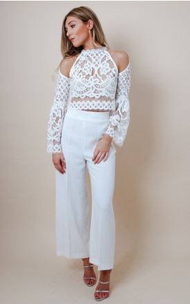 White Lace Cold Shoulder Top by Pretty Lavish