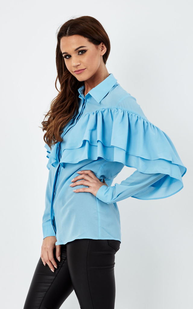 Blue Long Sleeve Ruffle Shirt by Glamorous
