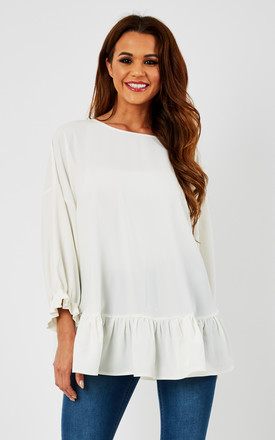 White Oversized Cape With Frill by Minkie