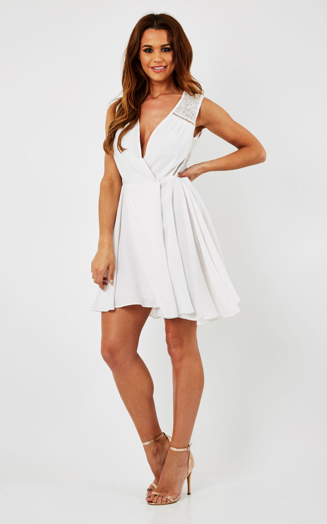 White Lace Body Crossover Skater Dress by URBAN TOUCH