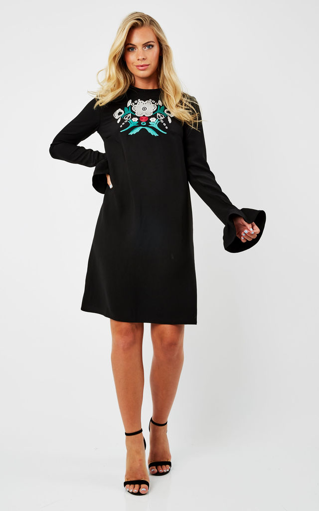 Embroidered Long Sleeve Dress by URBAN TOUCH