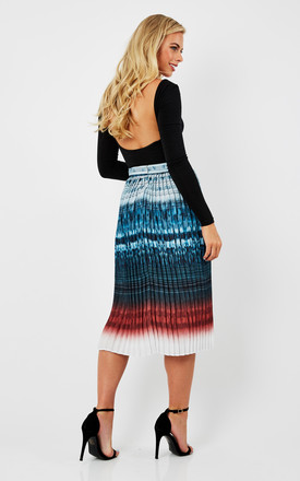 Printed Pleated Midi Skirt by URBAN TOUCH