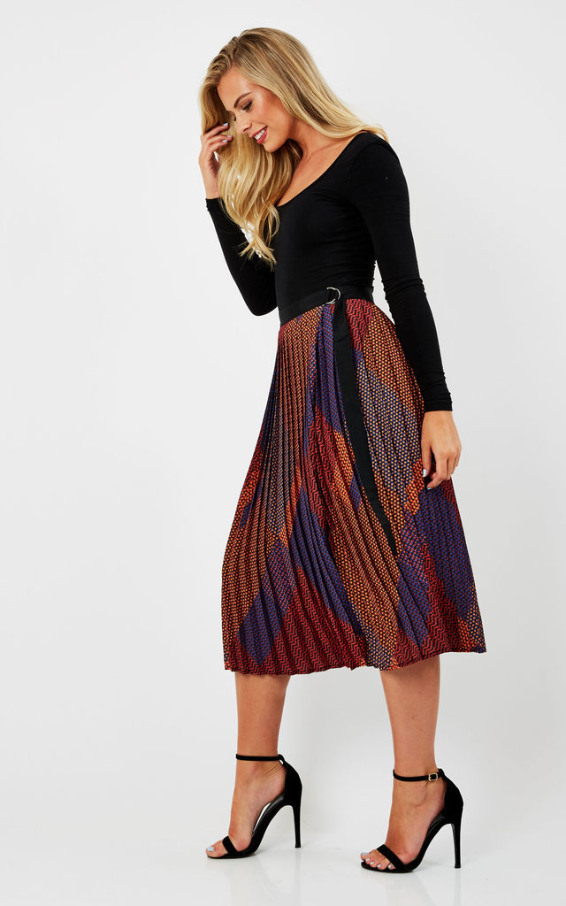 Cross Over Pleated Midi Skirt by URBAN TOUCH