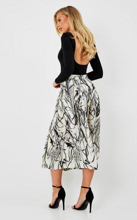 Bird Print Pleated Midi Skirt by URBAN TOUCH