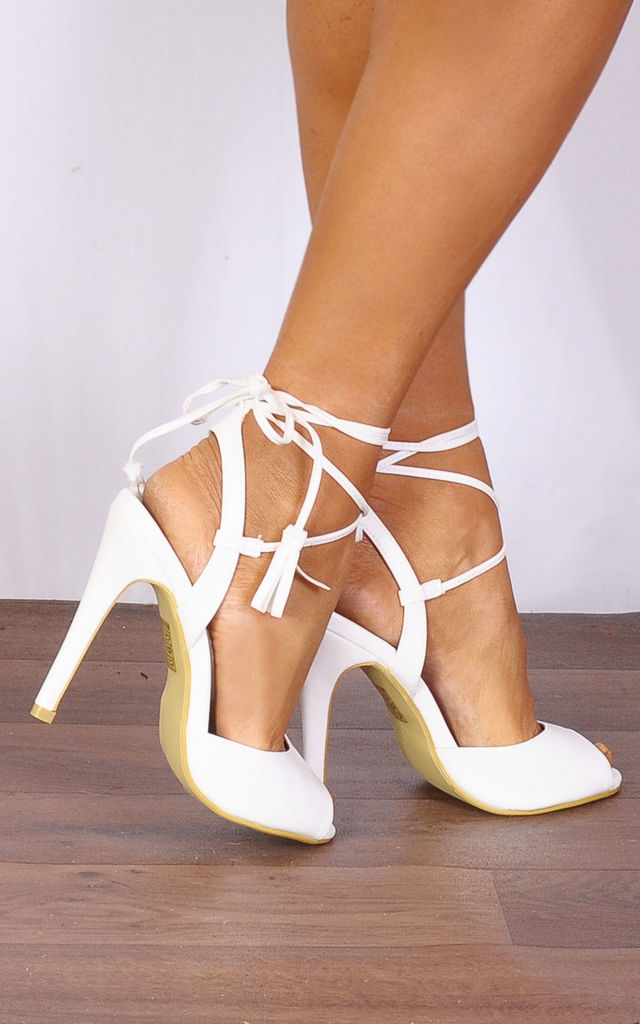 White Pu Leather Barely There Wrap Round Lace Ups Strappy Sandals High Heels by Shoe Closet