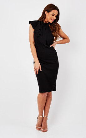 Black High Neck Ruffle Back Bodycon Dress by Bella and Blue Product photo