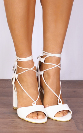 White Faux Leather Wrap Round Strappy Sandals High Heels by Shoe Closet
