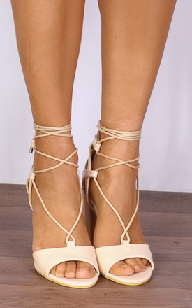 Nude Faux Leather Wrap Round Strappy Sandals High Heels by Shoe Closet