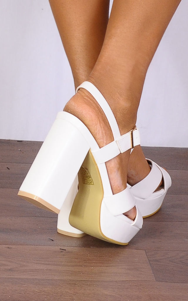 White Pu Leather Platforms Strappy Sandals High Heels by Shoe Closet
