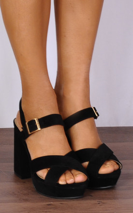 Black Platforms Strappy Sandals High Heels by Shoe Closet
