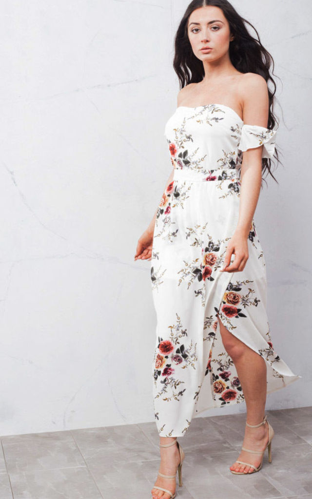 Off The Shoulder Floral Maxi Dress with Side Split White by LILY LULU FASHION