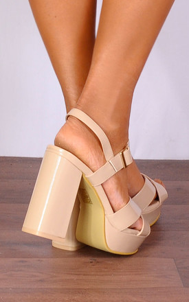 Nude Patent Platforms Strappy Sandals High Heels by Shoe Closet