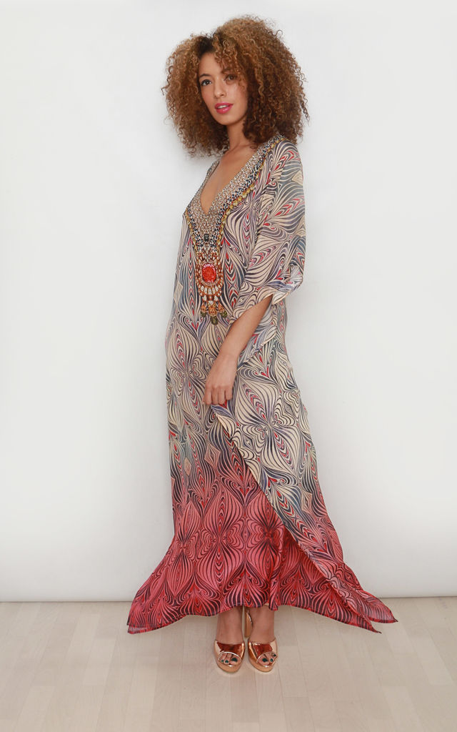 Martina Ombré Maxi Kaftan with deep V neck by Kitten Beachwear