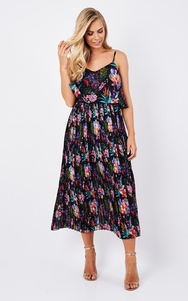 Floral Pleated Dress - Black by Zibi London