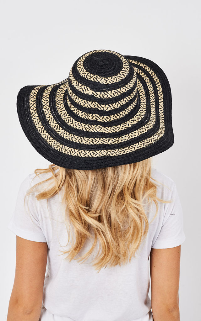 BLACK AND BEIGE STRIPED FLOPPY SUN HAT by Lilah Rose