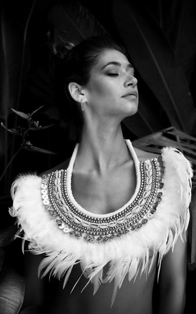 Statement Feather Necklace by Narlaka