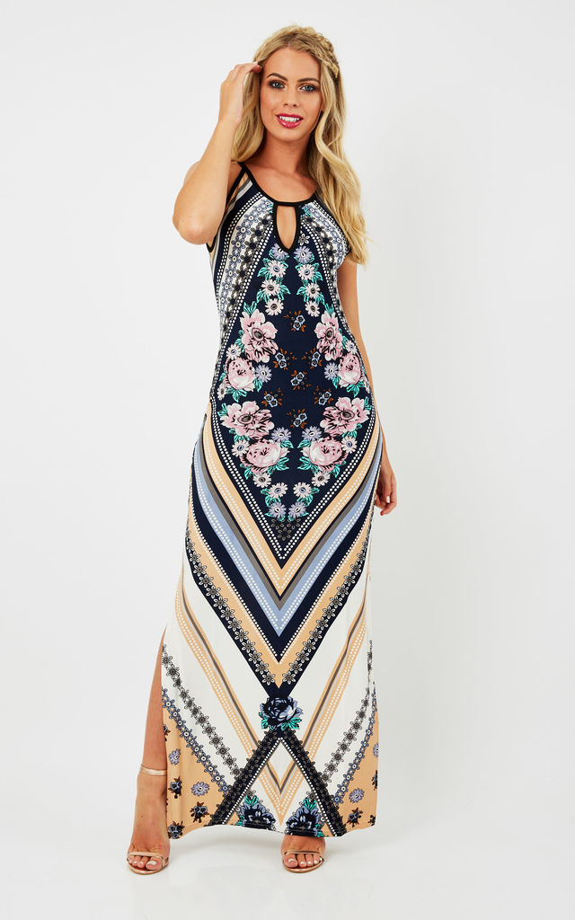 e9c4557a9a9 TORY – Diamond Floral Print Maxi Dress Navy by Blue Vanilla