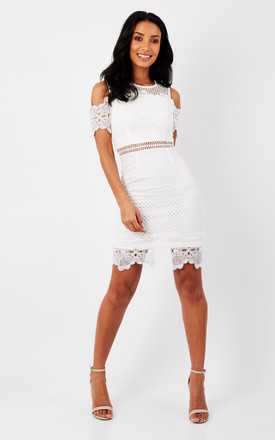 f0569aa11 Cold Shoulder Lace Detail Midi Dress