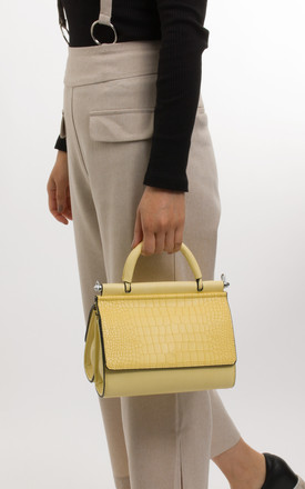 Phoebe Faux Leather And Faux Snakeskin Handbag In Yellow by KoKo Couture