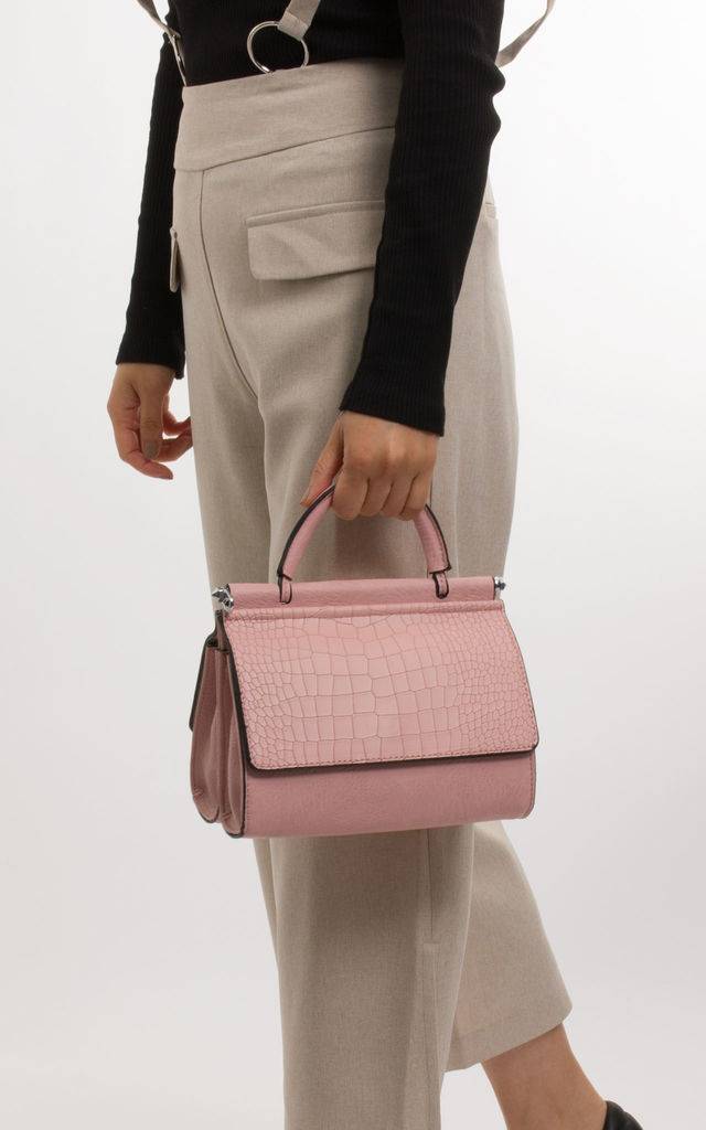 Phoebe Faux Leather And Faux Snakeskin Handbag In Rose Quartz by KoKo Couture