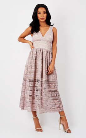 PLUNGE LACE DETAIL MIDI DRESS by True Decadence