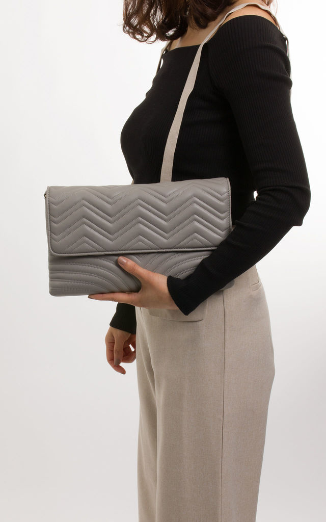 Lottie Soft Faux Leather Clutch In Grey by KoKo Couture