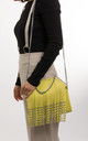 Alesha Faux Leather Shoulder Bag In Yellow by KoKo Couture