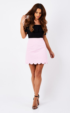 Pink Scallop Hem Skirt by Luna Product photo