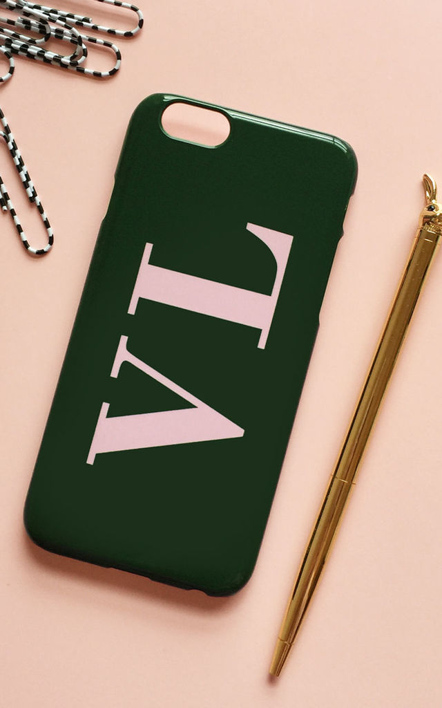 lowest price f48d9 7f47d Khaki Green & Baby Pink Monogram Phone Case With Large Initials By Rianna  Phillips