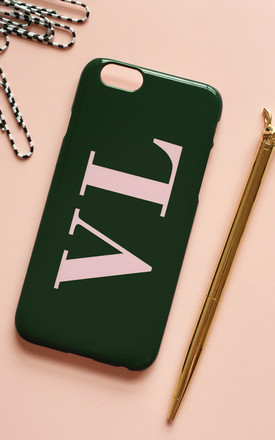 Khaki green & baby pink monogram phone case with large initials by Rianna Phillips