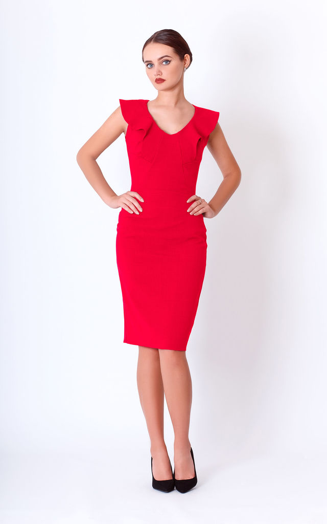 Red Frill Mini Dress for wedding by JEVA FASHION
