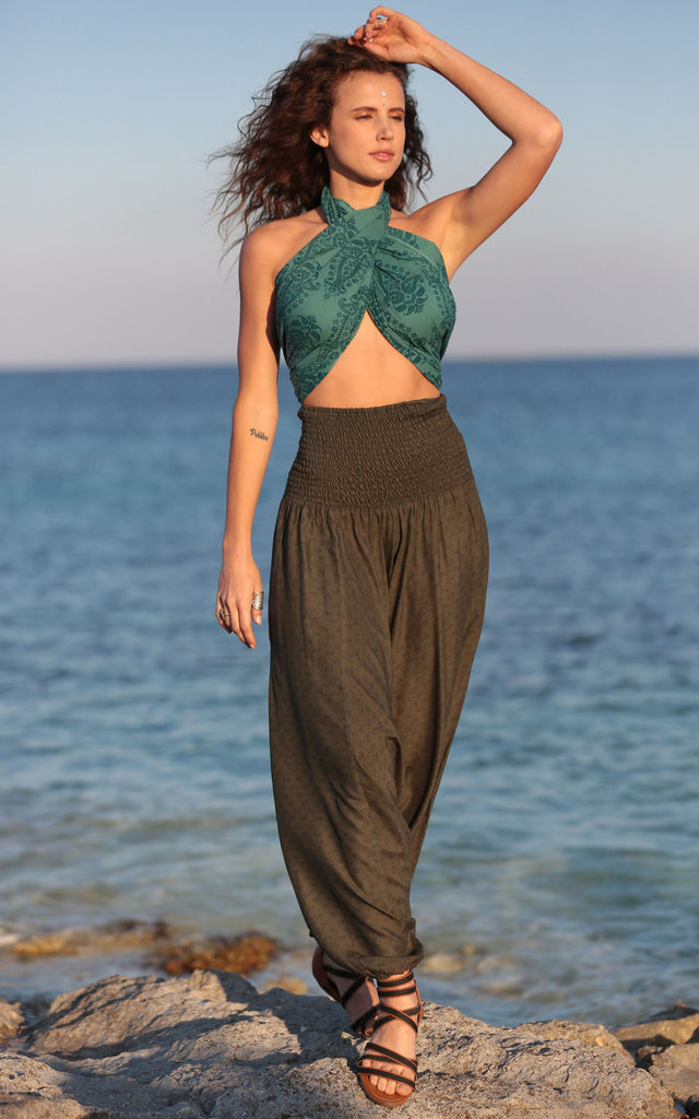 2 in 1 Harem Trousers and Bandeau Jumpsuit Khaki Paisley Print by likemary