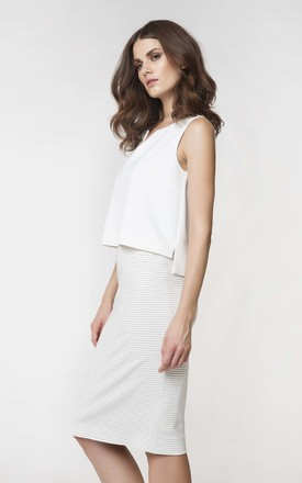 Cream Pencil Skirt by Conquista Fashion