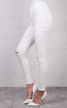 High Waisted Knee Ripped Super Skinny Tube Jeans White by LILY LULU FASHION