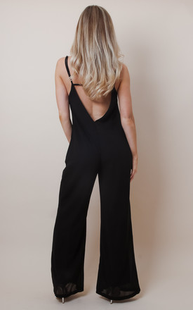 Black Backless Relaxed Jumpsuit by Pretty Lavish