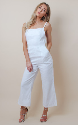 White Linen Backless Culotte Jumpsuit by Pretty Lavish