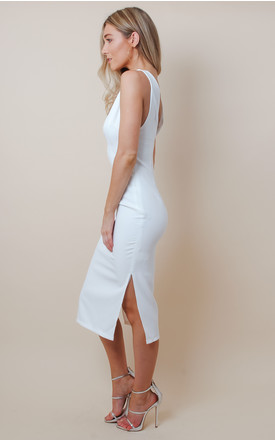 White Low Cut Midi Dress by Pretty Lavish