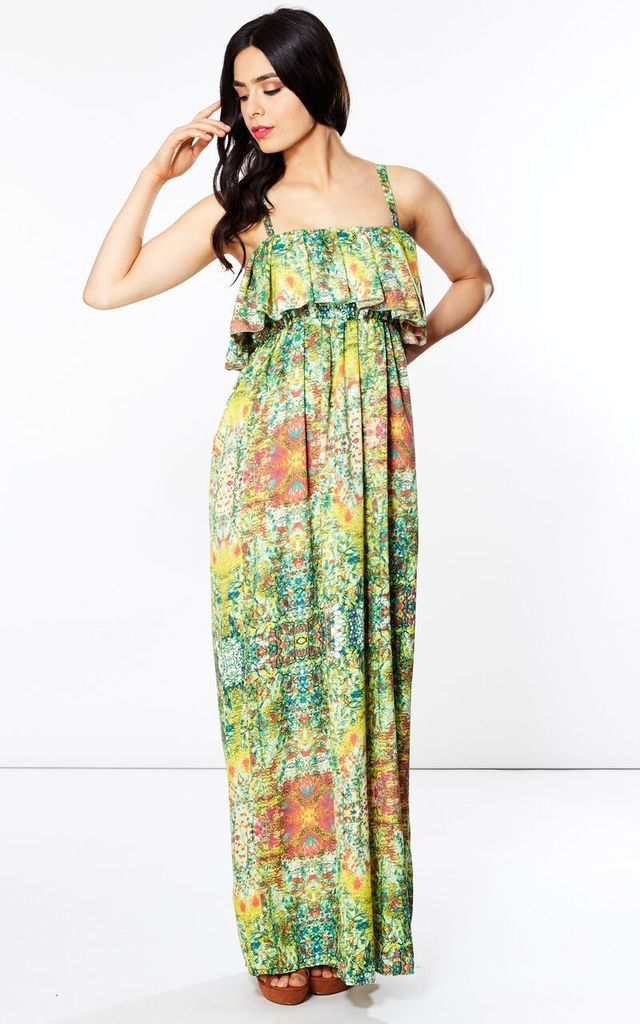 Green Esha Frill Maxi Dress by Silver Birch