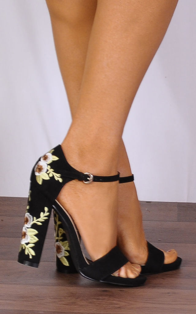 Black Embroidered Strappy Sandals High Heels by Shoe Closet