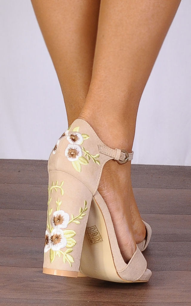 Nude Embroidered Strappy Sandals High Heels by Shoe Closet