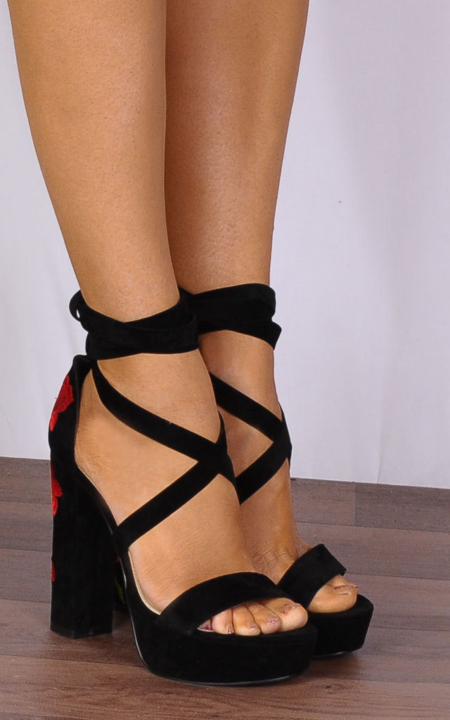 Black Lace Ups Platforms Embroidered Strappy Sandals High Heels by Shoe Closet