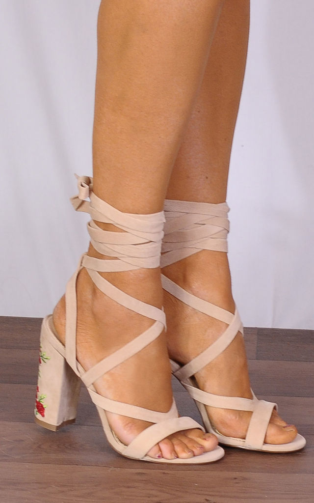 Nude Lace Ups Embroidered Strappy Sandals High Heels by Shoe Closet