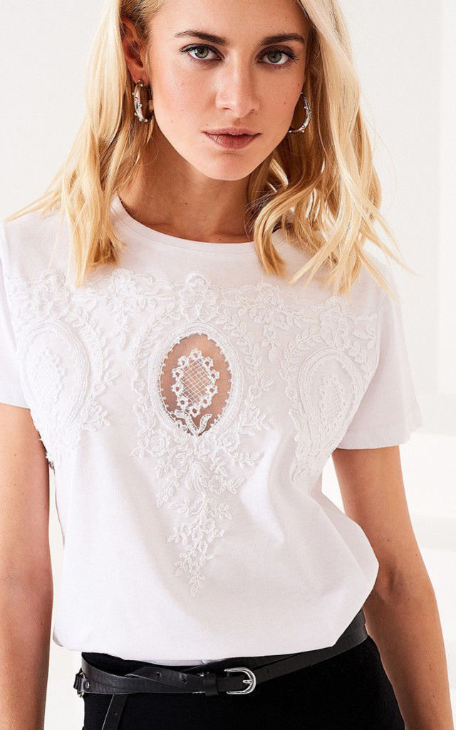 Embroidered Cotton T-shirt White by Zibi London