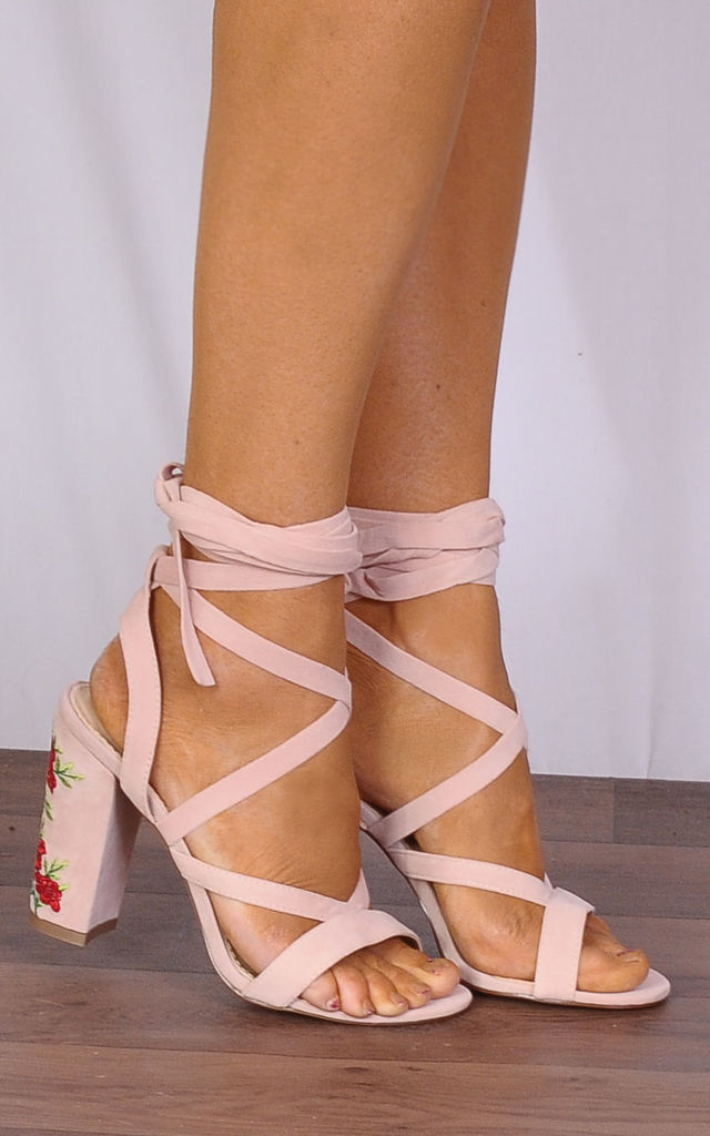 Baby Pink Lace Ups Embroidered Strappy Sandals High Heels by Shoe Closet