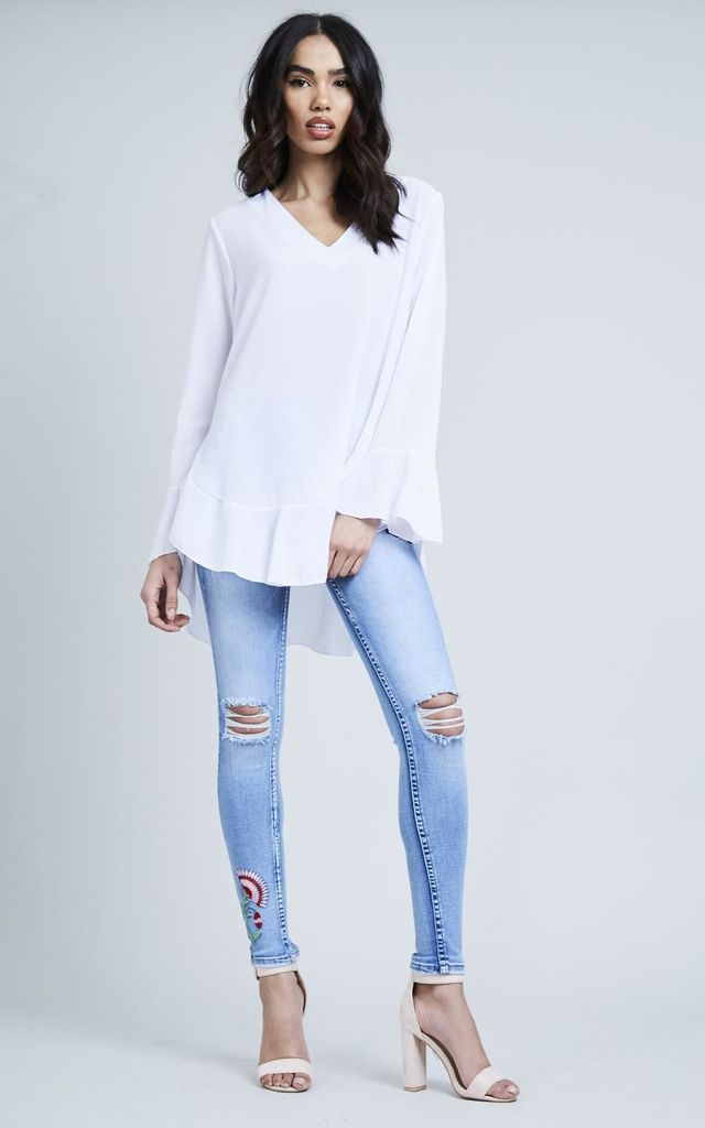 White Frill Bottom Flared Sleeve Top by Black Lilly